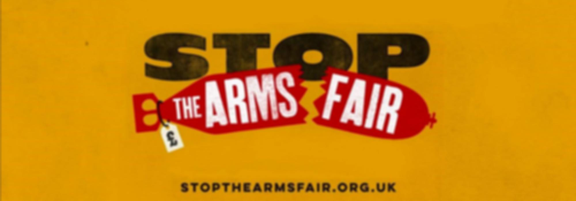 Het logo van de 'Stop the arms fair' campagne.