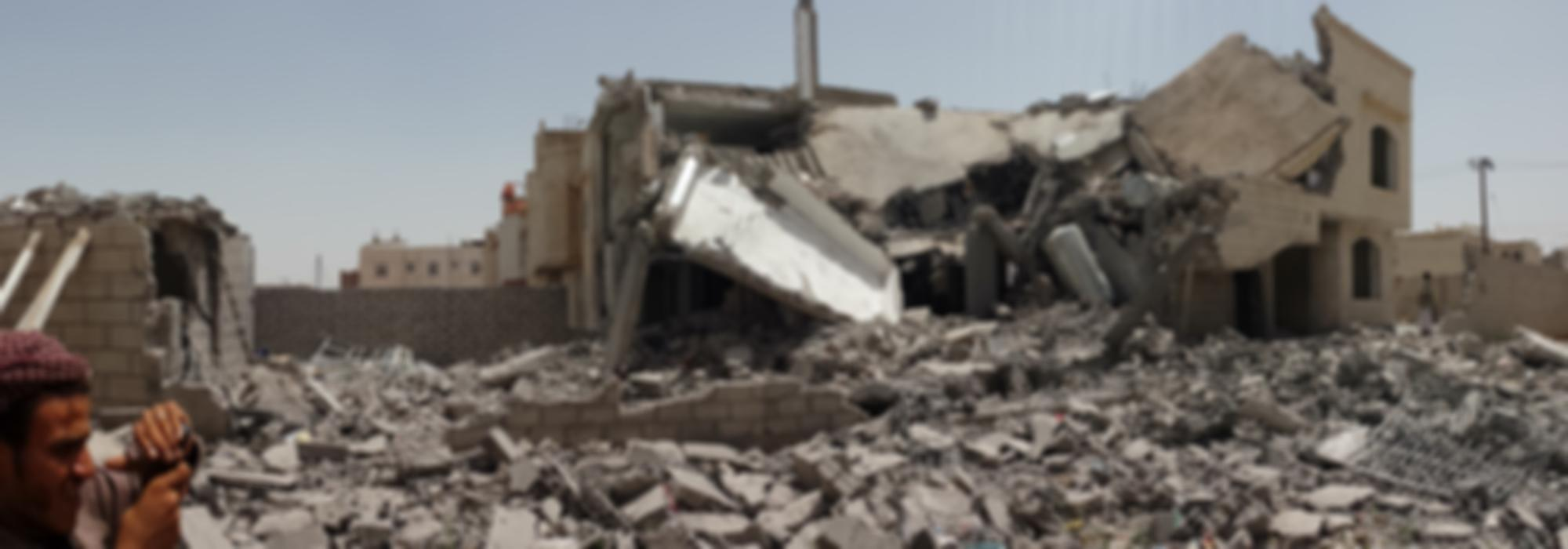 Destroyed house in South of Sanaa