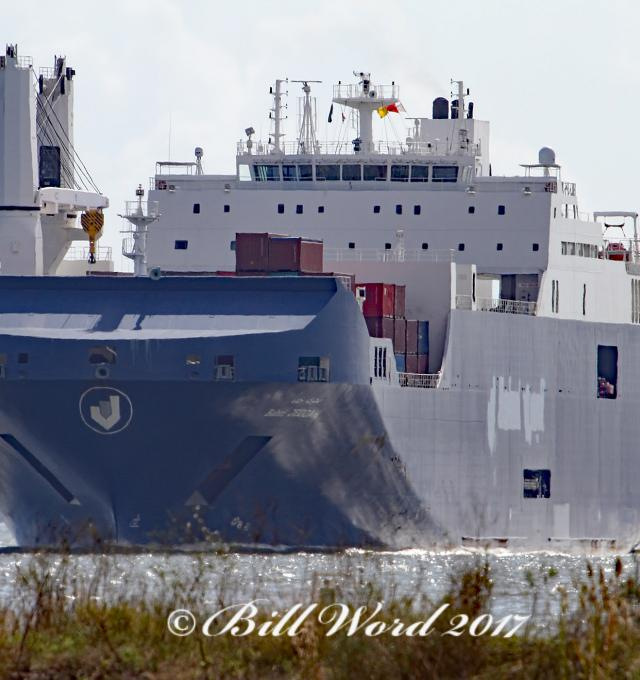CC BY-NC-ND 2.0 Bill Word - Houston Ship Channel from Morgan's Point Texas Bahri Jeddah RORO Cargo IMO 9626522 Dammam Saudi Arabia